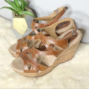 B.O.C Born Concept Leather Wedge Sandal